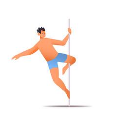 Male dancer in sportswear pole dance man doing vector