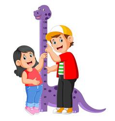 Measuring his sister on dinosaur measure heigh vector