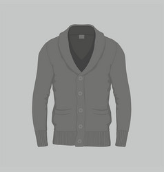 Mens black cardigan vector