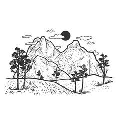 mountain landscape sketch vector image