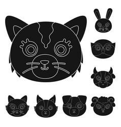 Muzzles of animals black icons in set collection vector