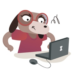 Nerd Dog Girl Using a Computer vector image