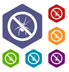 no spider sign icons set vector image