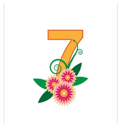 Number seven with floral vector image