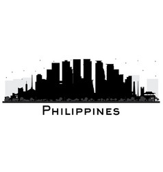 Philippines city skyline silhouette with black vector