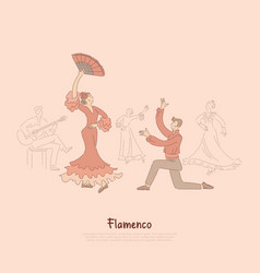 professional dancers elegant woman in red dress vector image