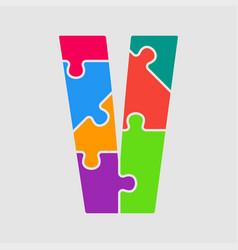 puzzle piece letter - v jigsaw font shape vector image