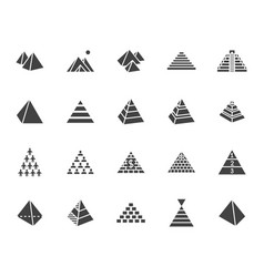 pyramid flat glyph icon set egyptian monument vector image