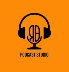 Rb monogram headphone and microphone style vector