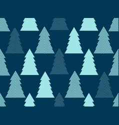 seamless pattern with christmas trees christmas vector image