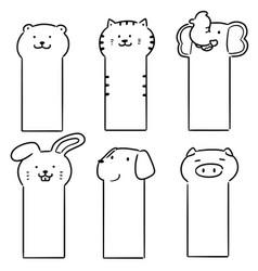 Set animal bookmark vector