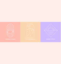 set linear colorful boho icons and symbols vector image