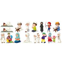 set muslim kids character vector image