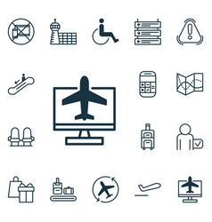 Set of 16 airport icons includes escalator down vector