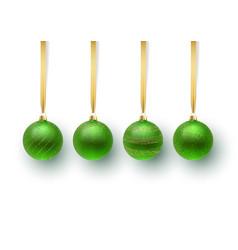 set of green christmas ball vector image