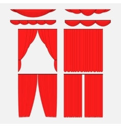 Set of red silk velvet curtains vector