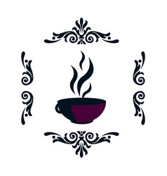 Silhouette of a hot cup with a steam in a frame of vector