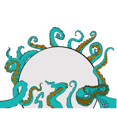 sketch cartoon octopus tentacles vector image