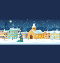 snowy night in cozy christmas town city panorama vector image
