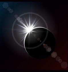 Solar eclipse in dark space diamond ring phase vector