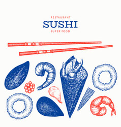 Sushi roll temaki hand drawn japanese cuisine vector