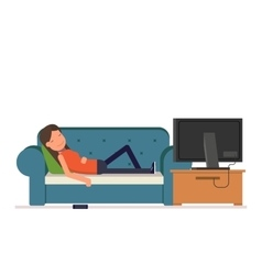 The girl sleeps on the sofa watching television vector image vector image
