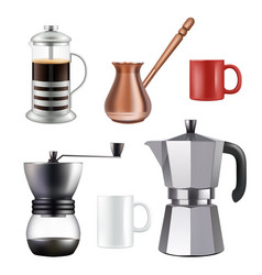 Turkish coffee set realistic vector