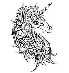 Unicorn decorative tattoo vector
