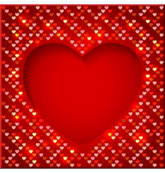Valentines Day bright frame with shiny hearts vector image