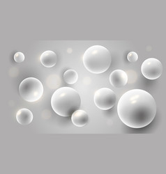 white 3d spheres abstract background pearls vector image