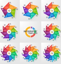 Windmill style infographic set vector