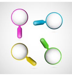 3d Blue Pink Yellow and Green Magnifying Glass Set vector image vector image