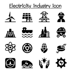 electricity industry icon set vector image vector image
