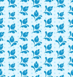 Seamless Pattern with Floral Elements Blue vector image vector image