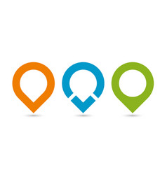set of three original map pointers - navigation vector image vector image