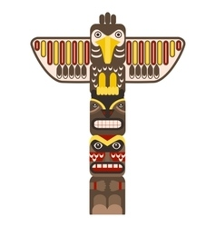 Traditional Religious Totem Pole with Animal vector image
