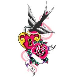 bird and heart ribbon emblem vector image vector image