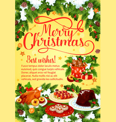 christmas dinner banner with xmas cuisine dishes vector image vector image