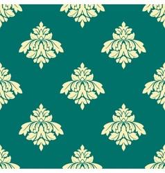 Floral beige damask seamless pattern on green vector image vector image