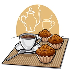 muffin and coffeee vector image