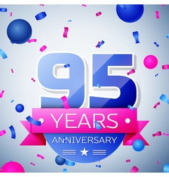 Ninety five years anniversary celebration on grey vector image vector image