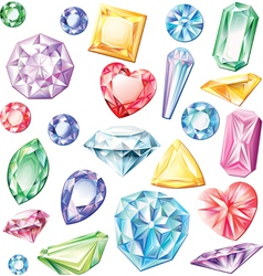 Set of precious stones of different cuts and vector image vector image