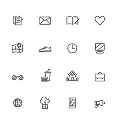 universal line icons set on white background vector image