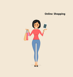 young woman and shopping bags with smart phone on vector image