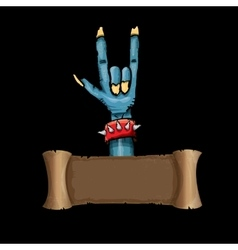Zombie hand shows rock n roll gesture vector image