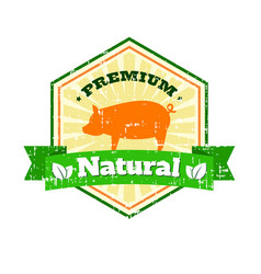 butcher shop vintage logo natural food farm logo vector image vector image