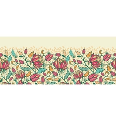 Colorful flowers and leaves horizontal seamless vector image vector image