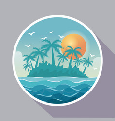 colorful poster with circular frame of island vector image vector image