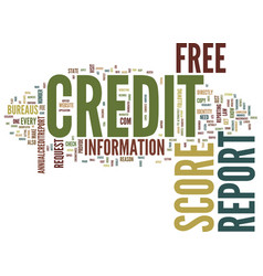 Free credit report and score text background word vector