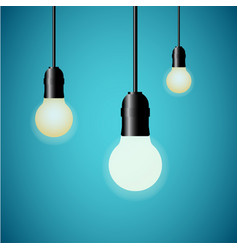 hanging light bulbs glowing on blue background vector image vector image